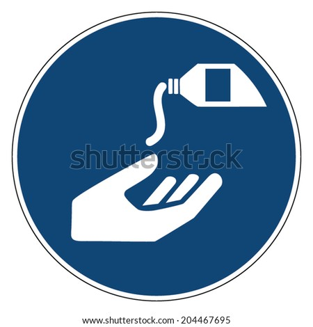 Mandatory action sign, USE BARRIER CREAM - stock vector