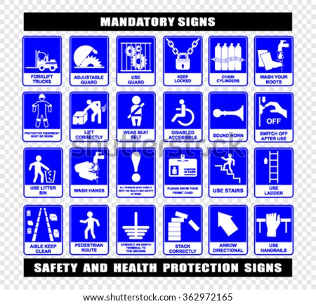 Mandatory construction and industry signs - stock vector