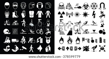 Mandatory construction health and safety and hazard warning related monochrome icon collection isolated on white background  - stock vector