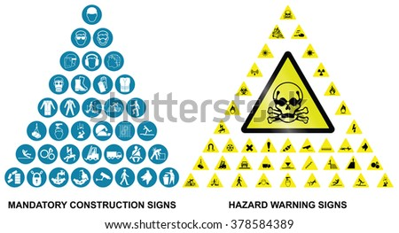 Mandatory construction health and safety and hazard warning related pyramid icon collection isolated on white background  - stock vector