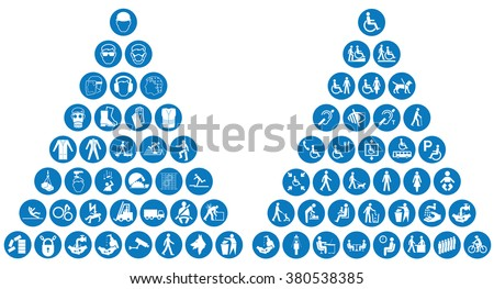 Mandatory construction health and safety and people related icon collection - stock vector