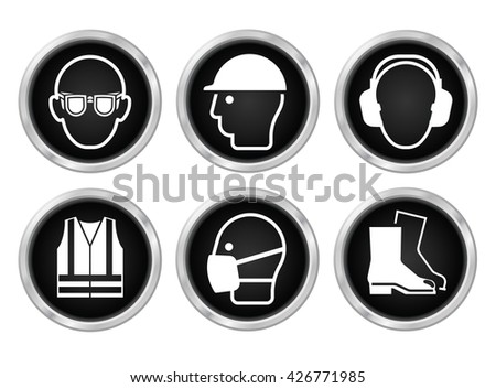 Mandatory construction manufacturing and engineering health and safety black shiny icons to current British Standards isolated on white background - stock vector