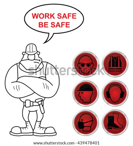 Mandatory construction manufacturing and engineering health and safety shiny red icons to current British Standards with work safe be safe message isolated on white background