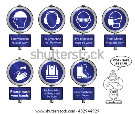 Mandatory construction manufacturing and engineering health and safety signposts to current British Standards isolated on white background - stock vector