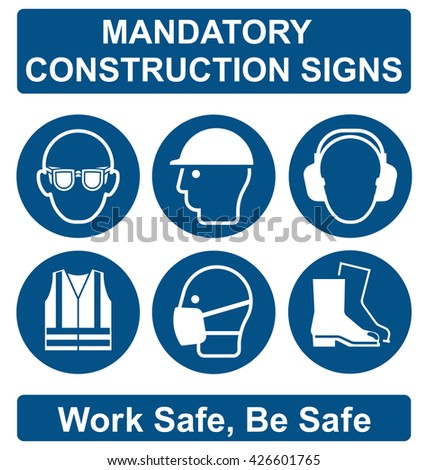 Mandatory construction manufacturing and engineering health and safety signs to current British Standards isolated on white background - stock vector