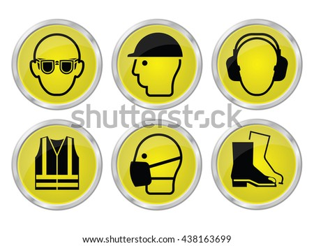 Mandatory construction manufacturing and engineering health and safety yellow shiny icon set to current British Standards isolated on white background - stock vector