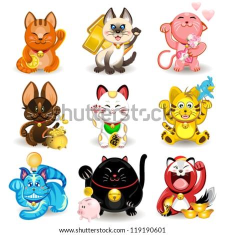 Maneki Neko Fortune Cat Collection - stock vector
