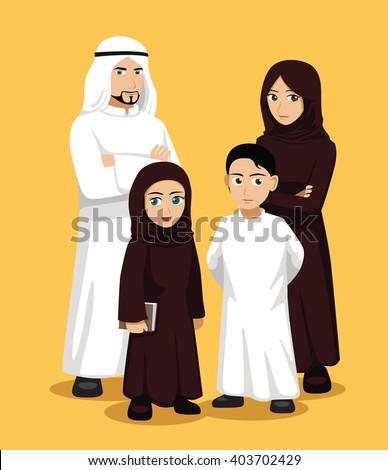 Manga Arab Family Cartoon Vector Illustration - stock vector