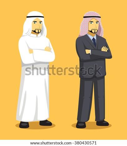 Manga Arab Man Cartoon Vector Illustration - stock vector