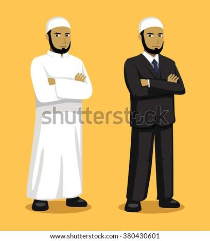 Manga Muslim Man Cartoon Vector Illustration - stock vector