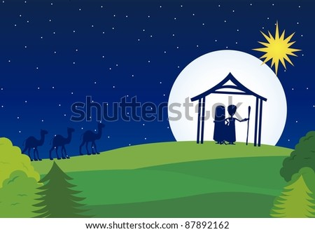 manger silhouette with camels over landscape background. vector - stock vector