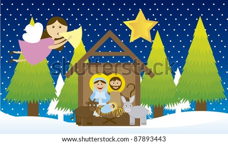 manger with angel and tree over snow, night. vector - stock vector