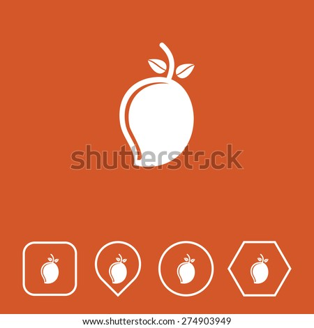Mango Icon on Flat UI Colors with Different Shapes. Eps-10. - stock vector