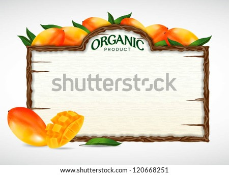 mango menu board - stock vector