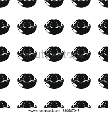Mangosteen black simple silhouette vector seamless pattern. Black fruit stylish texture. Repeating Mangosteen fruit seamless pattern background