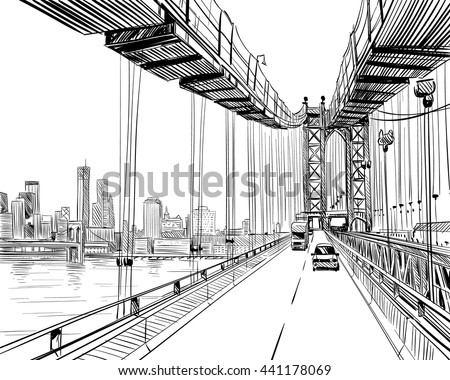 Manhattan bridge hand drawn industrial illustration. New York city vector sketch - stock vector