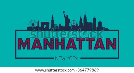 Manhattan New York Skyline silhouette plate vector design - stock vector