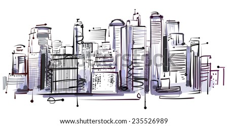 Manhattan Sketch - stock vector