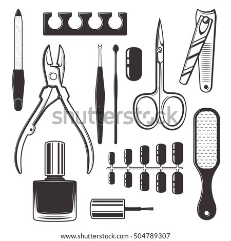 Manicure And Pedicure Equipment Kit Set Of Vector Monochrome Objects Isolated On White Background Nail