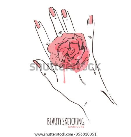 Manicure. Manicured nails. Nail Polish, Nail Lacquer, Fingernail Polish, Nail Enamel Set. Make Up, Cosmetics. Hand holding watercolor red rose. Hand drawn vector illustration. Line art ink sketch.  - stock vector