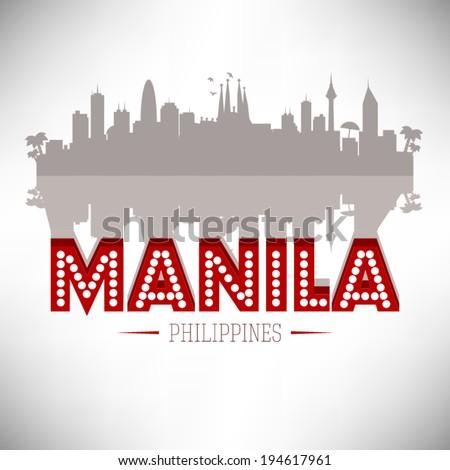 Manila Philippines skyline silhouette design, vector illustration. - stock vector