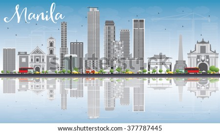Manila Skyline with Gray Buildings, Blue Sky and Reflections. Vector Illustration. Business Travel and Tourism Concept with Modern Buildings. Image for Presentation Banner Placard and Web Site.