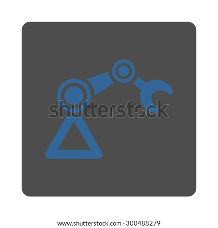 Manipulator icon. This flat rounded square button uses cobalt and gray colors and isolated on a white background. - stock vector
