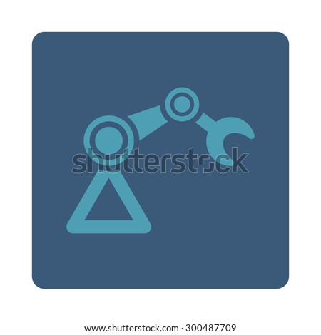 Manipulator icon. This flat rounded square button uses cyan and blue colors and isolated on a white background. - stock vector