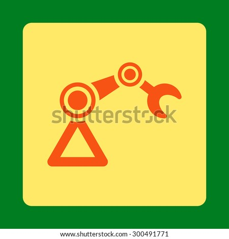Manipulator icon. This flat rounded square button uses orange and yellow colors and isolated on a green background. - stock vector
