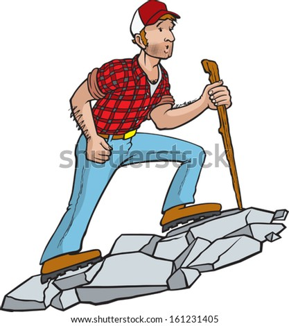 Manly Hiker. A cartoon hiker enjoying the great outdoors. Vector file. - stock vector
