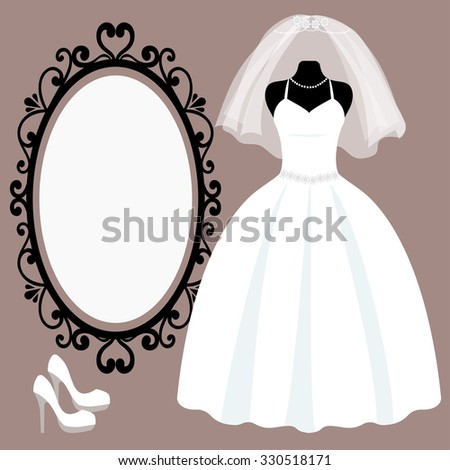 mannequin and long wedding dress and a mirror - stock vector