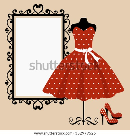 mannequin and retro red dress and mirror square - stock vector