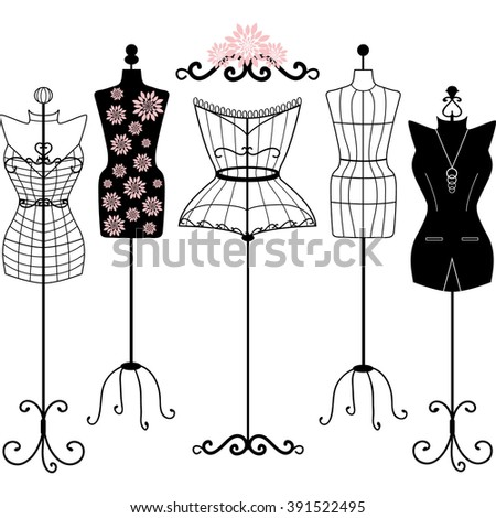 Mannequin Silhouette. Fashion,Shabby Chic, Body,Dress Form.Tailor's Dummy set - stock vector
