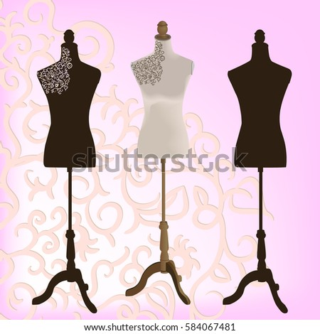 mannequins for sewing on a pink background, vector illustration