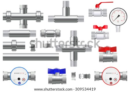 Manometer and Chrome pipes with flange. Water Meter with Water valve. Vector Illustration isolated on white background. - stock vector
