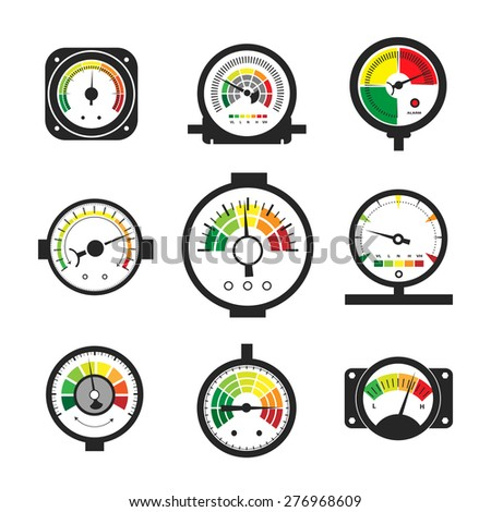 Manometer set, pressure gauge, pressure measurement. Instrument and temperature industrial, fuel and gas. Vector illustration - stock vector