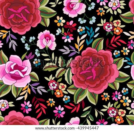 Manton Shawl Spanish Floral Print Seamless Stock Vector