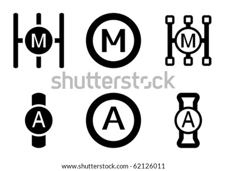 Manual and automatic gearbox icons. - stock vector