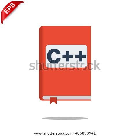 manual c++ book icon, vector handbook c++  icon, isolated book icon - stock vector