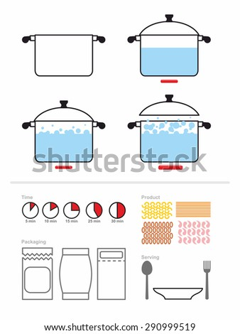 Manual cooking in a saucepan. Set to manual on preparation, cooking pasta or shrimp. Includes product packaging. And the cooking time. Infographics for recipes Cook. Food cooking instruction - stock vector