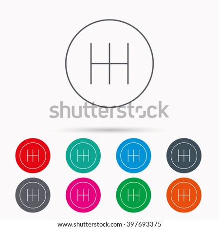 Manual gearbox icon. Car transmission sign. Linear icons in circles on white background. - stock vector