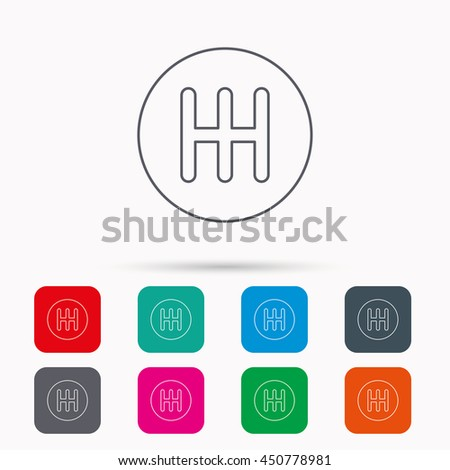 Manual gearbox icon. Car transmission sign. Linear icons in squares on white background. Flat web symbols. Vector - stock vector