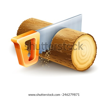Manual saw cutting wooden timber. Eps10 vector illustration. Isolated on white background - stock vector