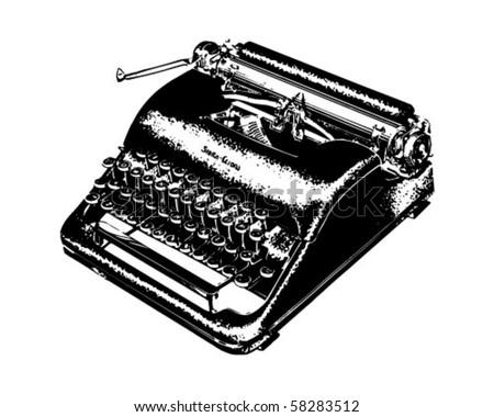 Manual Typewriter - Retro Clip Art - stock vector