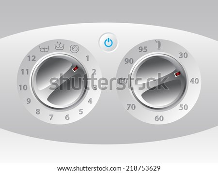 Manual wash machine control deck with functions  - stock vector