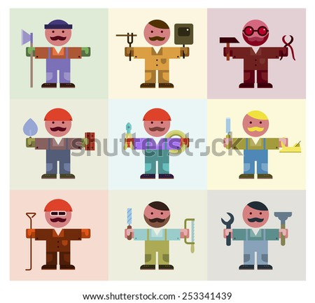 Manual workers icon set - stock vector