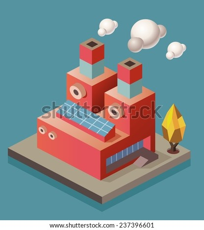 Manufacture Factory. isometric vector illustration - stock vector
