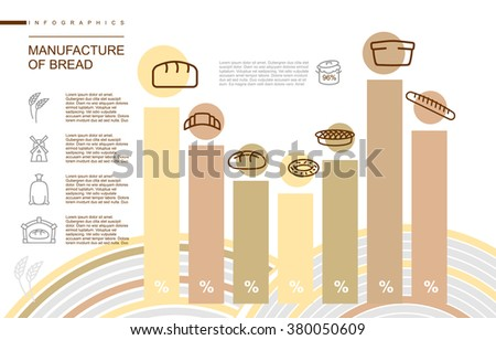 Manufacture of bread Infographics. Stages of manufacture of bakery products. Share of manufactured products. Bread and baton. Baguette and pie. Donuts and croissant. Flour mill. Rye and bake  - stock vector