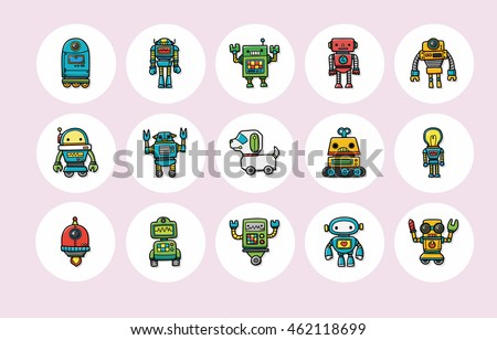 Manufacture robot icons set,eps10