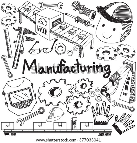 Manufacturing and operation system in factory assembly line handwriting doodle sketch design tools sign and symbol in isolated background paper for education  presentation introduction (vector)
